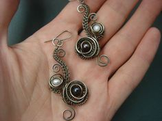 Pearl earrings Wire wrapped earrings German by StasyaWireWrap