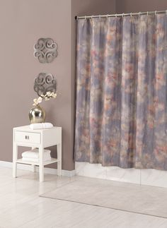 The Jessica Simpson Mandalay Crinkle Shower Curtain fills your bathroom with the perfect harmony of texture and color. Crafted from polyester, this curtain features silky, soft colors and abstract blooms with a touch of metallic gold sheen. Mandalay, Mandala Shower Curtain, Jessica Simpson Collection, Vinyl Shower Curtains, Curtain Patterns, April Showers, Soft Colors, Home Collections, Floral Prints