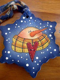 Snowman Snowflake Ornament - Tole Painted Wood. $11.00, via Etsy.