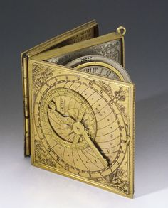 """design-is-fine: """" Astronomical compendium, late century. Museo Galileo """" There are three compartments: In the first is an astrolabe and a lunar calendar. Globes Terrestres, Magnetic Compass, Instruments, Science Museum, Sundial, Objet D'art, Steampunk, Gadgets, Antique Books"""