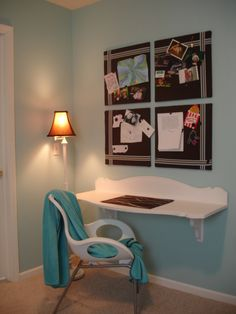 Floating Desk made from old headboard!    ~The Yellow Cape Cod: floating desk Repurposed Furniture, Pallet Furniture, Home Furniture, Reuse Furniture, Furniture Ideas, Floating Wall Desk, Floating Vanity, Do It Yourself Furniture, Headboard And Footboard