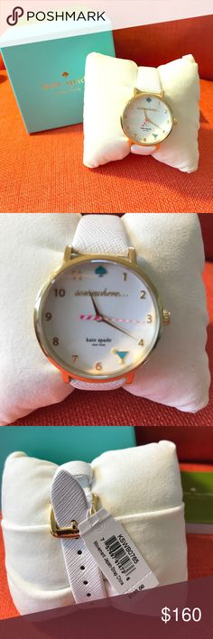 "Kate Spade ♠️ ""Somewhere"" White Leather band watch Kate Spade ♠️ ""Somewhere"" White Leather band watch! Summer is jut around the corner! This is a must have- featuring a margarita in place of the #5 kate spade Accessories Watches"