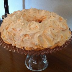 Orange Creamsicle Cake made with Vanilla cake mix and Diet Orange soda. Butter cream icing with orange and vanilla