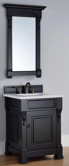 "James Martin Furniture - Brookfield 26"" Antique Black Single Vanity with 3 CM Snow White Quartz Top - 147-114-V26-AQB-3SNW"