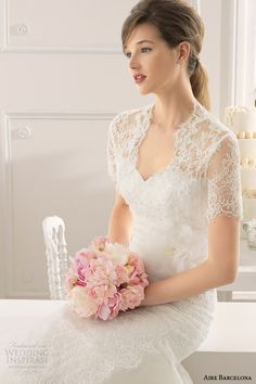 aire barcelona 2015 bridal amapola strapless lace wedding dress short sleeve lace jacket