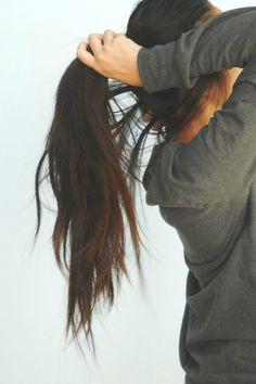 dark brown long hair
