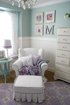 mustard carpet, cream/purple rug, white bead board, soft aqua walls, cream hutch, soft aqua side table, window seat, white chair