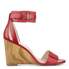 Red Snakeskin Ankle Strap Finula Wood Wedge Sandals | Nine West