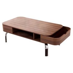 Kathrine Mid-century Inspired Storage Coffee Table Walnut - Furniture of America : Target