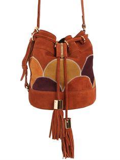 SEE BY CHLOÉ Vicki Suede Patch Bucket Bag, Dark Wood. #seebychloé #bags #shoulder bags #lining #canvas #bucket #suede #