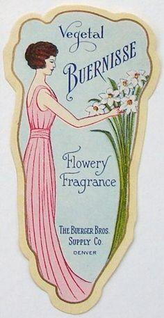 VEGETAL BUERNISSE Vintage Perfume Label, larger