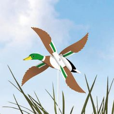 """Mallard Duck Whirligig Pattern. Popular at craft shows for pure enjoyment on windy days! Quick and easy to make with our full-size pattern, simple painting and assembly guide. 4""""H x 12""""W x 8""""D. Parts Req'd: Kit (1) H-660. Pattern #1822 $6.95 ( crafting, crafts, woodcraft, pattern, woodworking, yard art ) Pattern by Sherwood Creations"""