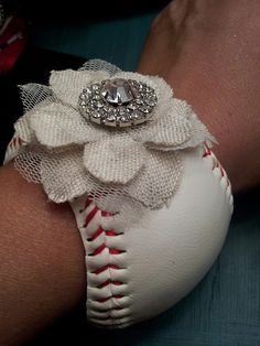 Baseball Cuff Bracelet with added Feminine by DowntownCowgurlShop, $25.00