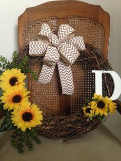Sunflower monogram grapevine wreath. 2016