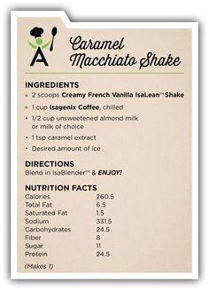 Vanilla Isalean shake, almond milk, caramel extract and ice. Vanilla Isalean shake, almond milk, caramel extract and ice. Broccoli Nutrition, Cheese Nutrition, Nutrition Shakes, Food Nutrition, Nutrition Guide, Vanilla Shake Recipes, Herbalife Shake Recipes, Herbalife Nutrition, Protein Shakes