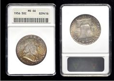 "6 -- 1956 Franklin 50C – ANACS MS-66 – Toned: Full, choice gem surfaces, with genuine, original toning primarily on the obverse. Toning often hides many ""sins"" but this coin doesn't seem to have any bagmarks at all, with the exception of one minor hit within the hair. A beautiful piece with natural blue-green and magenta highlights; a welcome addition to anyone's collection."