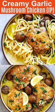 Creamy Garlic Mushroom Chicken made in Instant Pot. Easy delicious recipe for entire family   rasamalaysia.com