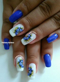 Perfect Colorful Floral Nail Design – 11 It's your turn to have great nails! Check out this year's most … Creative Nail Designs, Creative Nails, Nail Art Designs, Work Nails, Different Nail Designs, Rhinestone Nails, Toe Nail Art, Flower Nails, Blue Nails