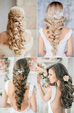 A few different ways to put your hair down on your big day. Which one is your favorite?