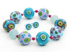 bracelet Ocean, fimo beads, polymer clay, arilla,  handgefertigtes Armband aus Polymer von polymerdesign