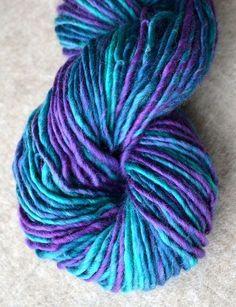 Purple and turquoise wool yarn