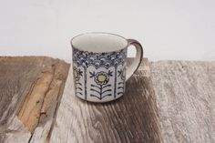 vintage 1970s Stoneware Mod Floral Mug
