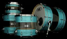 SJC Custom Drums - Hybrid Mint Ripple Maple + Clear Acrylic  Need to start practicing more so I can buy myself a sweet kit like this one day!