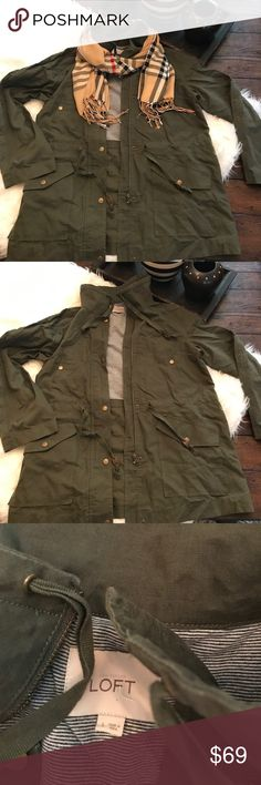 LOFT Ann Taylor Ulitily Cargo Jacket Large Army BNWOT. Also available in other color. Scarf available in closet.   LOFT Ann Taylor Ulitily Cargo Jacket Large Army LOFT Jackets & Coats Trench Coats