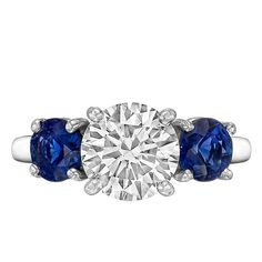 Betteridge 1.81 Carat Round Brilliant Diamond and Sapphire Engagement Ring | From a unique collection of vintage engagement rings at https://www.1stdibs.com/jewelry/rings/engagement-rings/