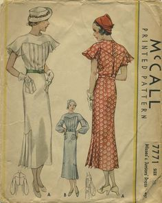 Vintage Sewing Pattern | McCall 7771 | Year 1934 | Bust 33 | Waist 27½ | Hip 36