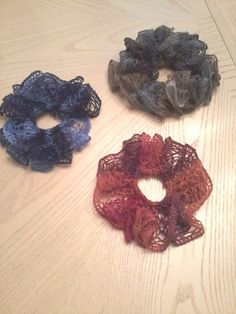 Hair Scrunchie Made By Me With Red Heart Sashay Yarn