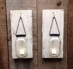 Rustic barn wood mason jar wall sconces by Thesalvagednail on Etsy