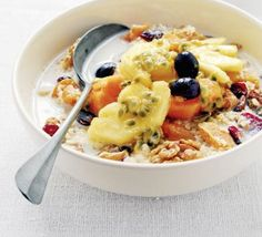 Over Night Muesli  1 cup uncooked oats, (quick or old-fashioned)  2 cups nonfat plain yogurt  1 8-ounce can crushed pineapple, (undrained)  3 tablespoons honey  1 teaspoon vanilla extract
