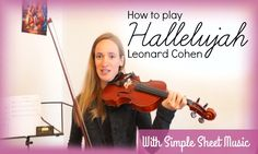 Another violin tutorial with free sheet music: Hallelujah from Leonard Cohen (from the movie Shrek). This song sounds beautiful on Easy Sheet Music, Violin Sheet Music, Sheet Music Book, Piano Music, Violin Lessons, Music Lessons, Chor, Leonard Cohen, Jouer