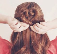 Pretty Twisted Heart Hairstyle for Long Hair