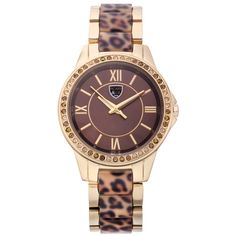 Women's Picard & Cie PPK Ladies Watch Swarovski Elements on Bezel ($53) ❤ liked on Polyvore featuring jewelry, watches, brown, jewelry & watches, women's watches, party jewelry, bezel jewelry, leopard print watches, leopard print jewelry and brown jewelry