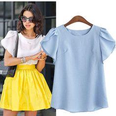 >> Click to Buy << 5xl plus size blusas feminina 2017 women korean spring summer  pure color thin blue pink white cute sweet shirt female A2439 #Affiliate