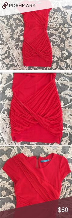 Alice+Olivia Red Goddess Dress Re-Posh! I bought this hoping it would fit even though I wear a size 0-2. So sad to say, it's just too big. Never worn be me except to try on and worn once by previous owner. In great condition! Alice + Olivia Dresses Mini