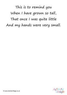 Handprint Poem Printables