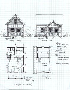 Free small cabin plans.   Garden Cottage F - One Level with Loft
