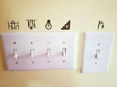 Label your light switches home idea vinyl cricut. good idea for kids sight words Vinyl Projects, Home Projects, Vinyl Crafts, Diy Home Decor, Room Decor, Rental Decorating, Home Hacks, First Home, Home Interior