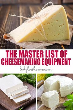 Do you want to make cheese at home? Get ready by haveing the right cheesemaking equipment on hand! Here is a master list of cheesemaking equipment.   #cheesemakingequipment #cheesemaking #howtomakecheese Cheese Wax, Cheese Press, Cheese Mold, Cheese Cloth, Making Cheese At Home, How To Make Cheese, Food To Make, Kitchen Gloves, Cheese Cultures