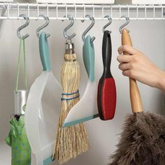 S-Hook Hang-Up: Turn any closet into a useful hang-up storage space by adding S-hooks to wire shelving. This provides tidy storage for mops, brooms and other cleaning tools. http://www.familyhandyman.com/closet/easy-ways-to-expand-your-closet-space