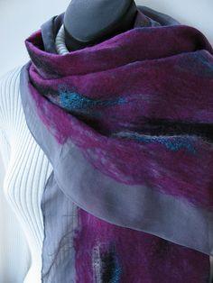 Nuno Felted Wrap photo by amysfunkyfibers on Flickr. Hand dyed silk chiffon…