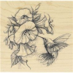 Hummingbird with Flowers Rubber Stamp | Shop Hobby Lobby