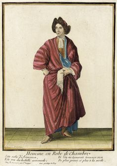 "1676 French Fashion plate ""Recueil des modes de la cour de France, 'Homme en Robe de Chambre'"" at the Los Angeles County Museum of Art, Los Angeles - This man is in a banyan."