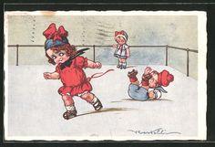 carte postale ancienne: CPA Illustrateur Castelli: kleiner Junge fällt beim Rollschuhlaufen avec seiner Freundin hin