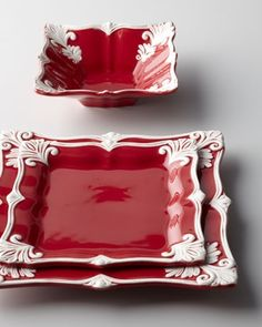 """Red Square """"Baroque"""" Dinnerware Service at Horchow. The Baroque Dinnerware used to be available in red too. My Favorite Color, My Favorite Things, Deco Table Noel, Decoration Inspiration, Square Plates, Red Kitchen, Decoration Table, Shades Of Red, Kitsch"""