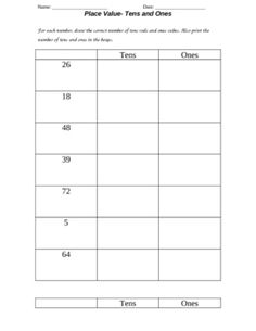 Place Value worksheet for practicing tens and ones. Students draw base ten blocks and write the number of tens and ones for the given numbers....