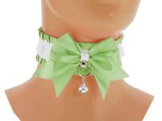Green satin Kitten Collar, Kitten Play Collar, Pet Play Collar, Choker, neko girl Collar, BDSM, ddlg Collar, kawaii Princess, puppy 5Y9